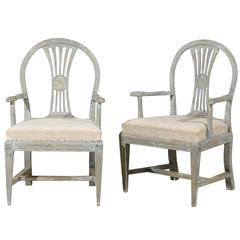 A Pair of Swedish 19th Century Period Gustavian Painted Wood Armchairs
