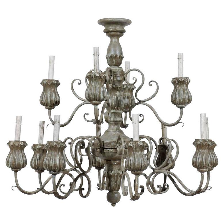 Italian Twelve-Light Painted Wood Chandelier with Flower Shaped Bobeches