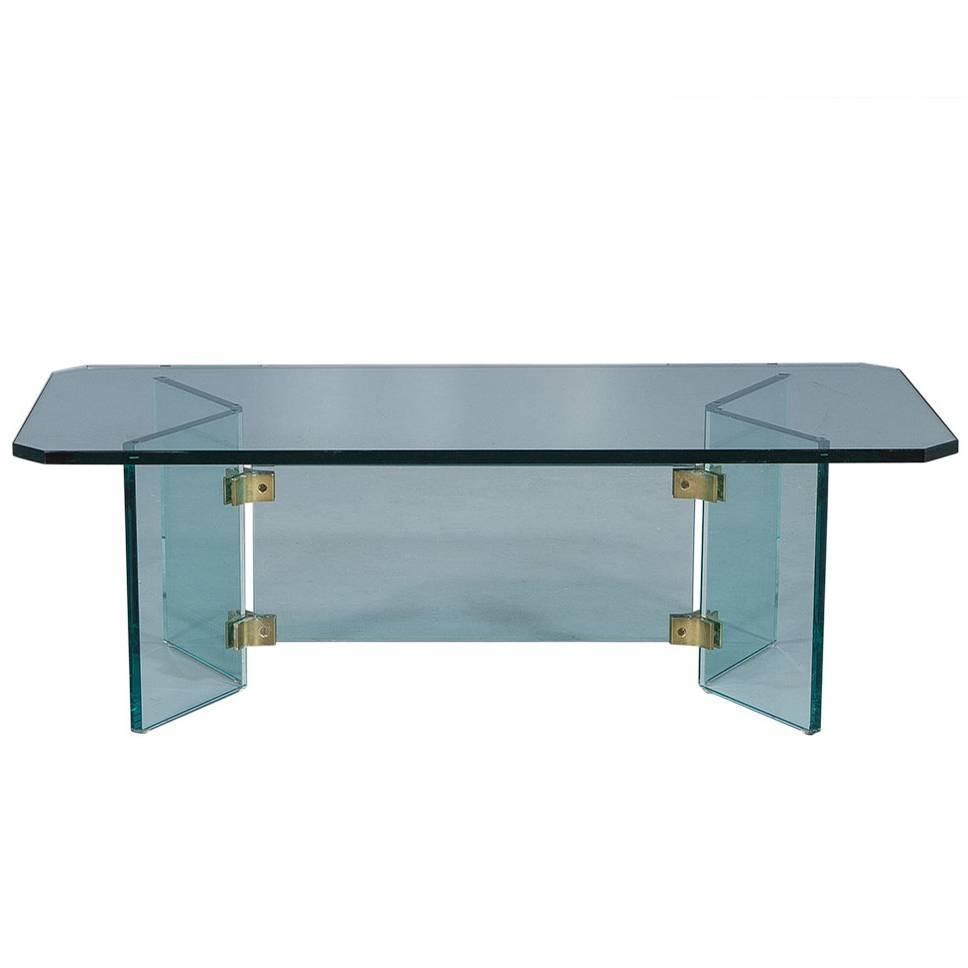 Vintage Glass Slab Cocktail Table For Sale At 1stdibs