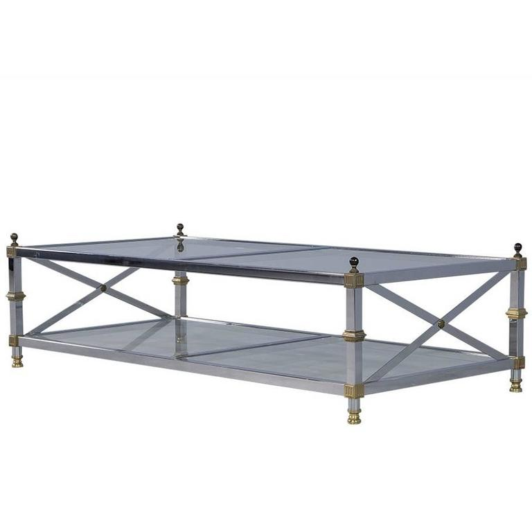 Regency Style Chrome X Base Cocktail Table At 1stdibs