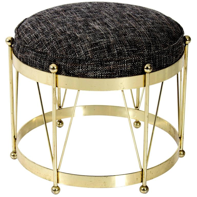 Mid Century Modern Round Polished Brass Drum Stool For