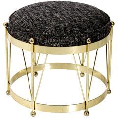 Mid-Century Modern Round Polished Brass Drum Stool