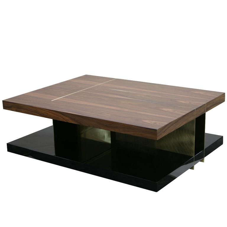 European Modern Timber Lacquer Brass Rectangular Lallan Coffee Table By Brabbu At 1stdibs
