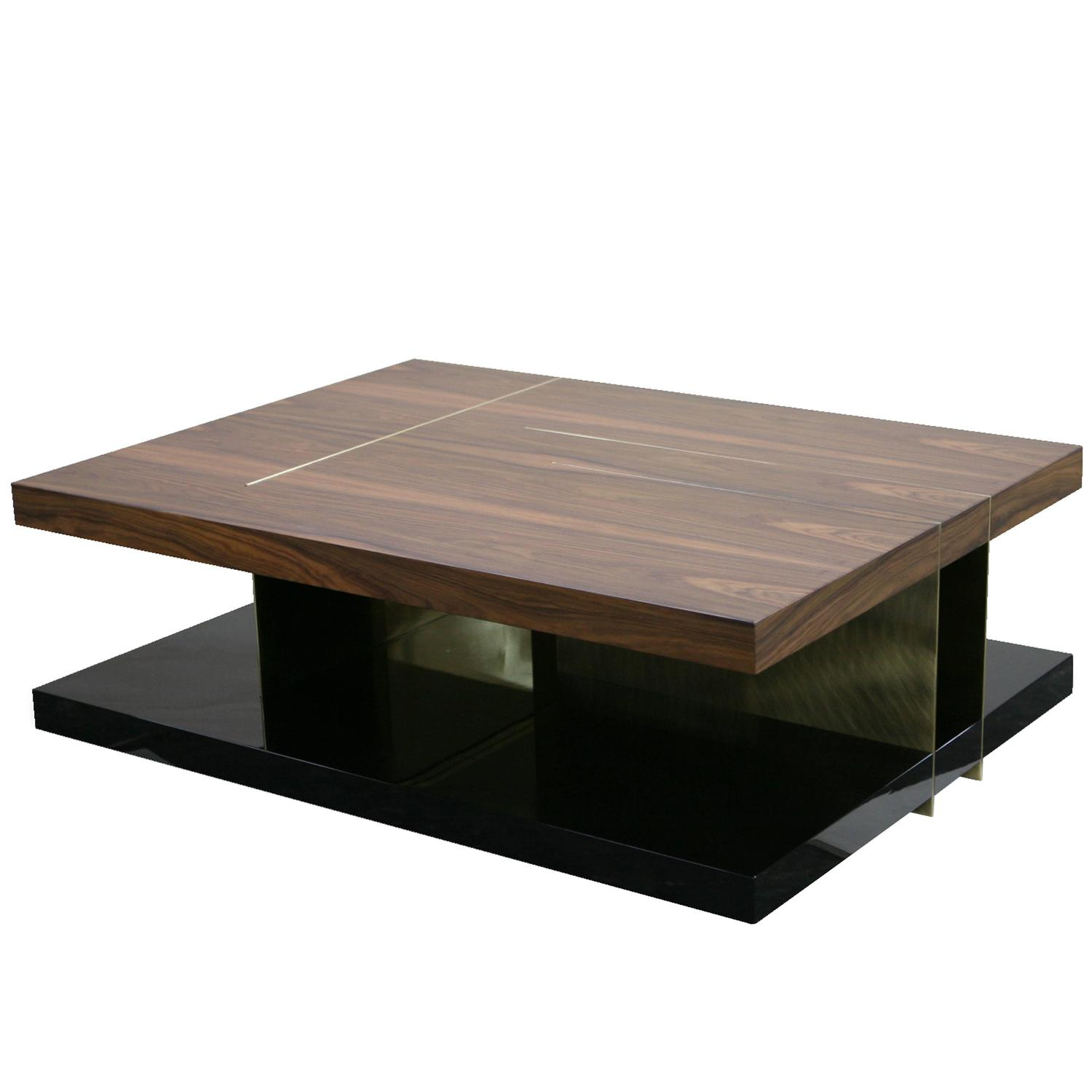 European Modern Timber Lacquer Brass Rectangular Lallan Coffee Table By Brabbu For Sale At 1stdibs