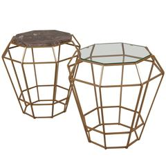 Marble and Gold Enameled Iron Side Tables