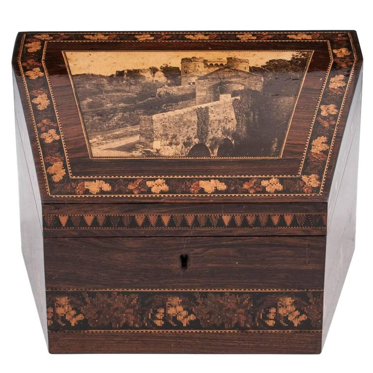 Mahogany victorian tunbridge ware stationery box for sale
