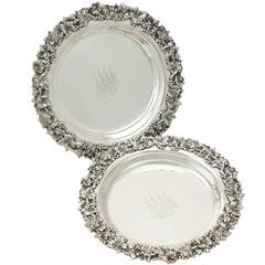 Pair of American Sterling Silver Coasters, Antique circa 1900