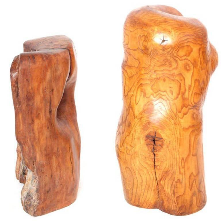 Pair of Modern Organic Abstract Feminine Form Wood Floor Sculptures For Sale