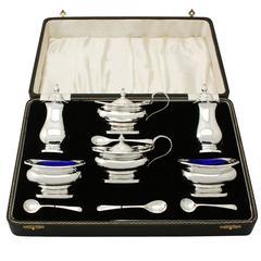 Sterling Silver Condiment Set, Vintage Elizabeth II