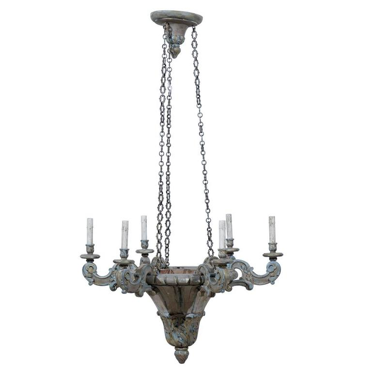 French Painted and Carved Wood Six-Light Chandelier