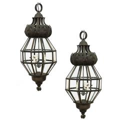 Pair of Italian Thee-Light Polygonal Glass Lanterns