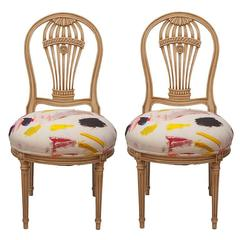 Maison Jansen Balloon Chairs Upholstered in Pierre Frey Arty Fabric, Pair