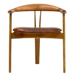 Teak and Leather Armchair by Arne Hovmand Olsen