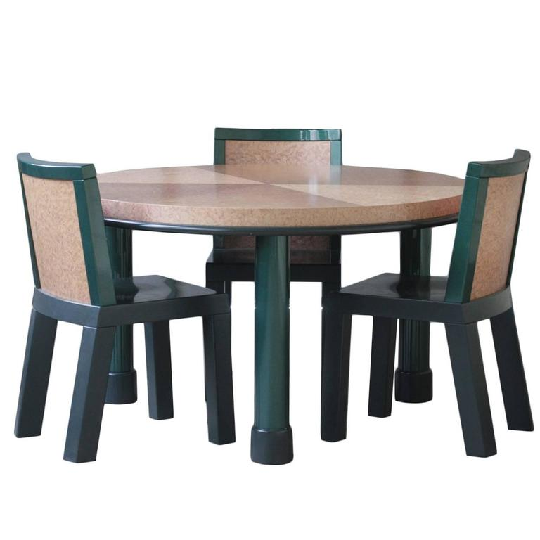 Ettore Sottsass Dining Table And Three Chairs For