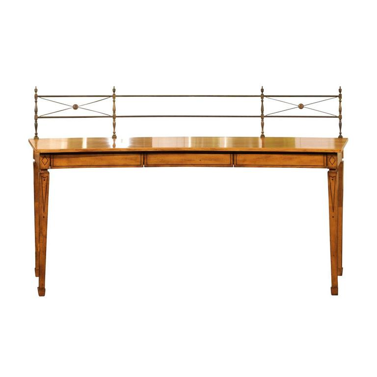 Neoclassical Concave and Inlaid Sideboard with Brass Gallery For Sale
