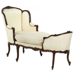 French Louis XV Style Carved Walnut Chaise Longue Lounge Settee, 19th Century