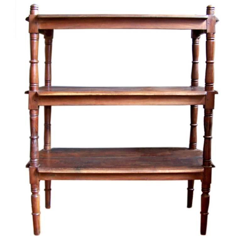 "19th C Jamaican Mahogany Three-Tier Shelf Or ""Wagon"" For"