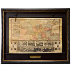 "1846 Antique Ensign's ""Traveller's Guide and Map of the United States"" Wall Map"