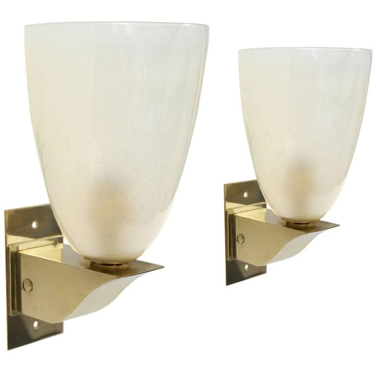 Wall Sconces Glass Shades : Pair of Murano Glass and Brass Wall Sconces with Frosted Shades, Italy, circa 1960 at 1stdibs