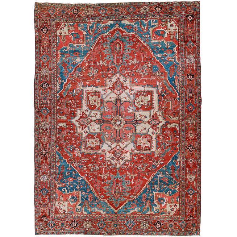Oversize Antique Persian Heriz Carpet