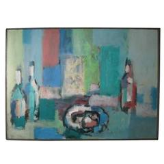 Mid-Century Modern Oil Painting of a Still Life