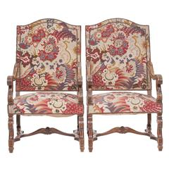 19th Century Louis XIV Style Walnut Armchairs