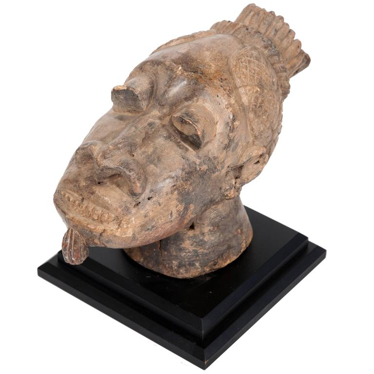 African Carved Stone Bust For Sale