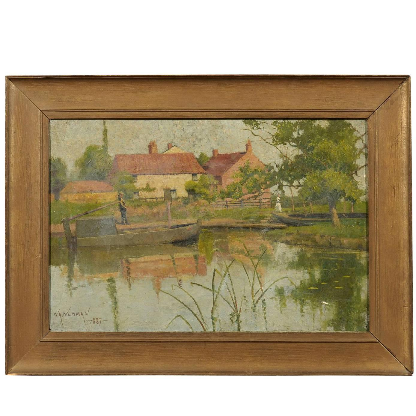 19th Century English Landscape Painting by W.A. Newman