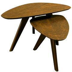 Timber Organic Modern Nesting Tripod Coffee Tables from France