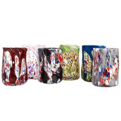 Set of Six Vintage Tumblers Handblown and Painted in Murano