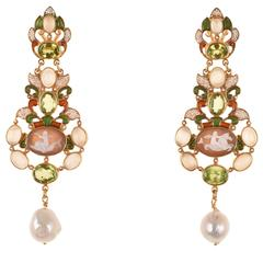 Unique Pendant Earrings with Small Central Cammeos by Diego Percossi Papi