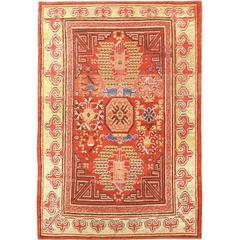 Rare Early 19th Century Small Tribal Antique Khotan Rug