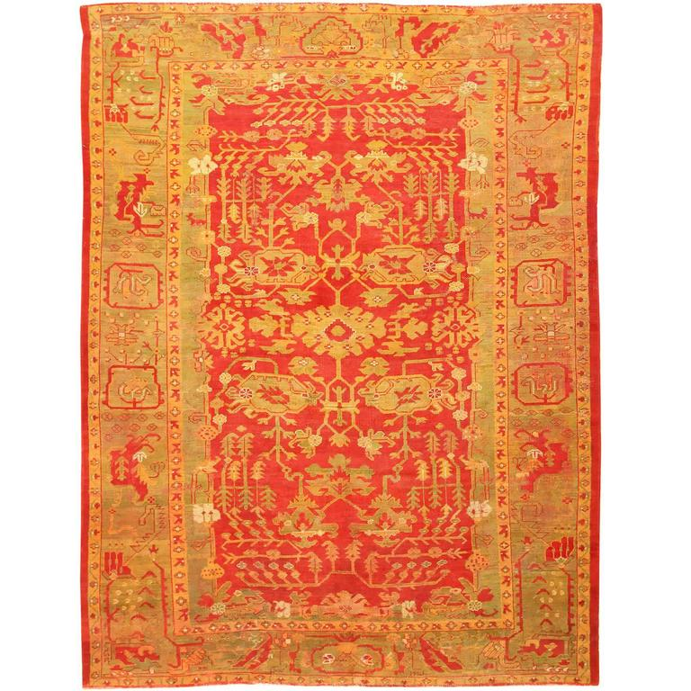 Beautiful Green and Red Antique Turkish Oushak Carpet