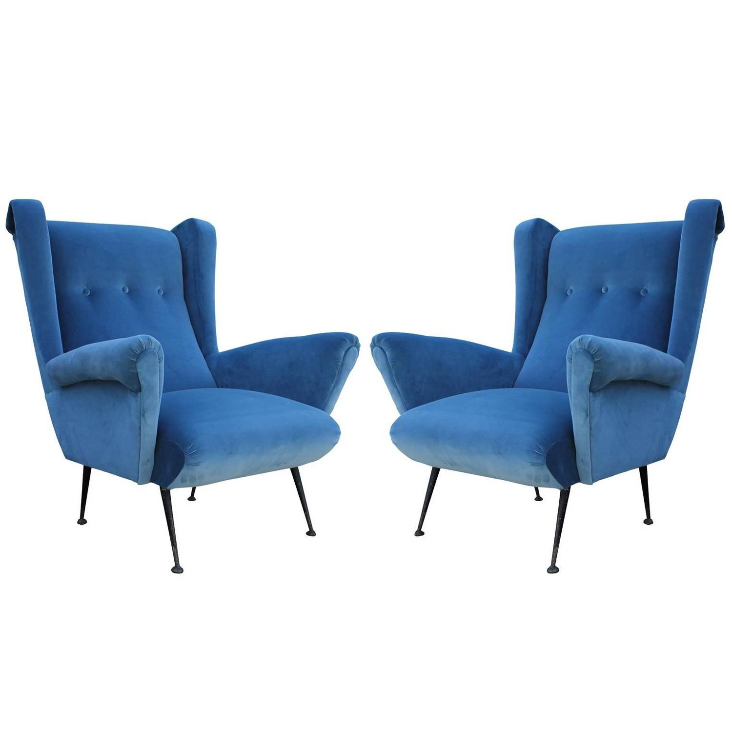 Pair of italian wingback lounge chairs in blue velvet at 1stdibs