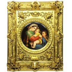Fine 19th Century Porcelain Plaque of La Madonna della Sedia after Raphel Sanzio