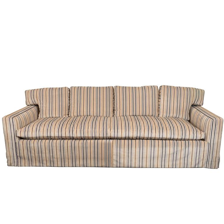 Midcentury Down Sofa in Striped Cut Velvet