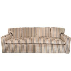 Midcentury Down Sofa in Striped Cut Velvet