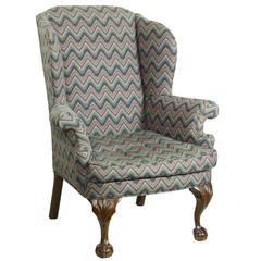Walnut Chippendale Style Wingchair with Shells