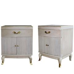 Solid Pair of American Cerused Oak Bowfront Bedside Cabinets by RWAY Furniture