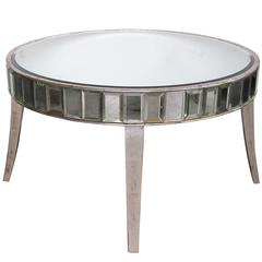 Shimmering American Mirrored Cocktail Table with Silver Giltwood Supports