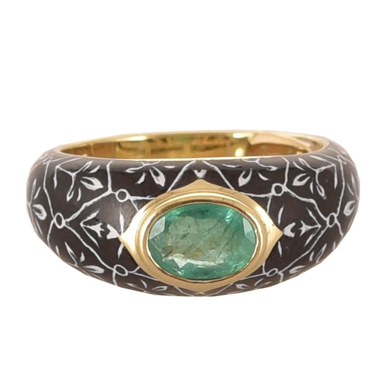 unique gold ring with emerald and enamel by diego percossi
