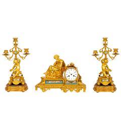 Sèvres Style Porcelain Mounted Ormolu Three-Piece Clock Set by Raingo Frères
