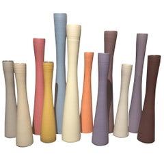 Handmade Tall Slender Fine Ceramic Vases, Contemporary, Italy