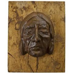 Enormous Cast Concrete Native American Medallion, circa 1935