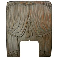 Hand-Carved Curtain Panel from Funeral Hearse, circa 1920s