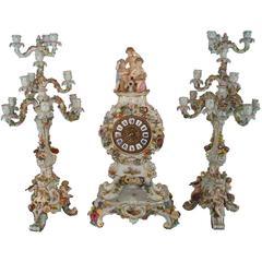 Very Large Three-Piece Meissen Porcelain Figural Flower Encrusted Clock Set