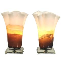 Incredible Pair of Blown Glass Table Torchieres in Cream and Caramel