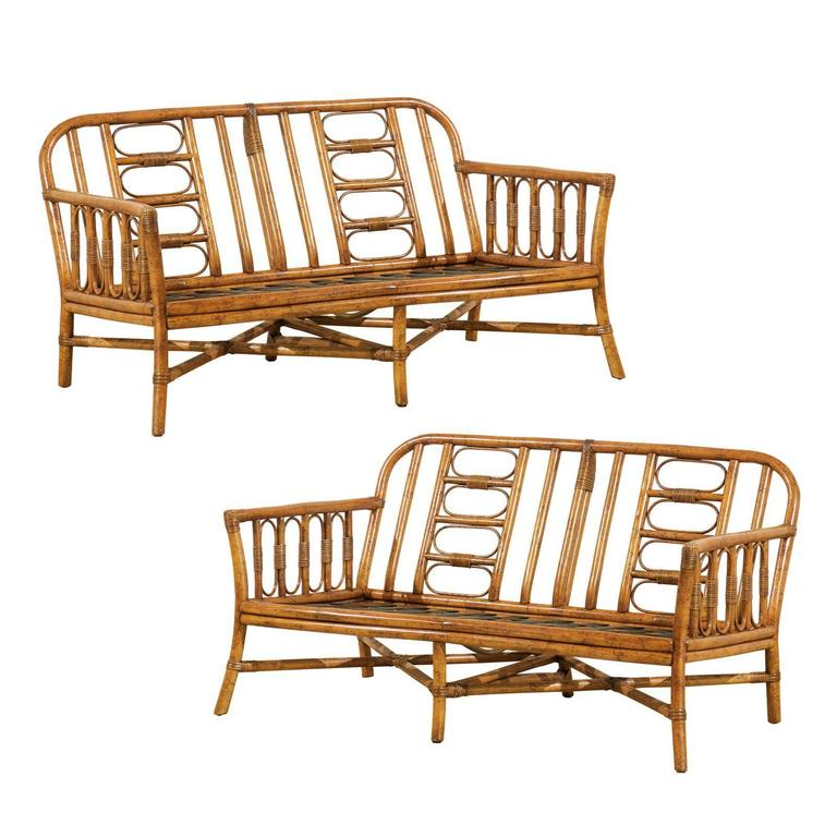 Decorative Vintage Rattan Loveseat By Ficks Reed For