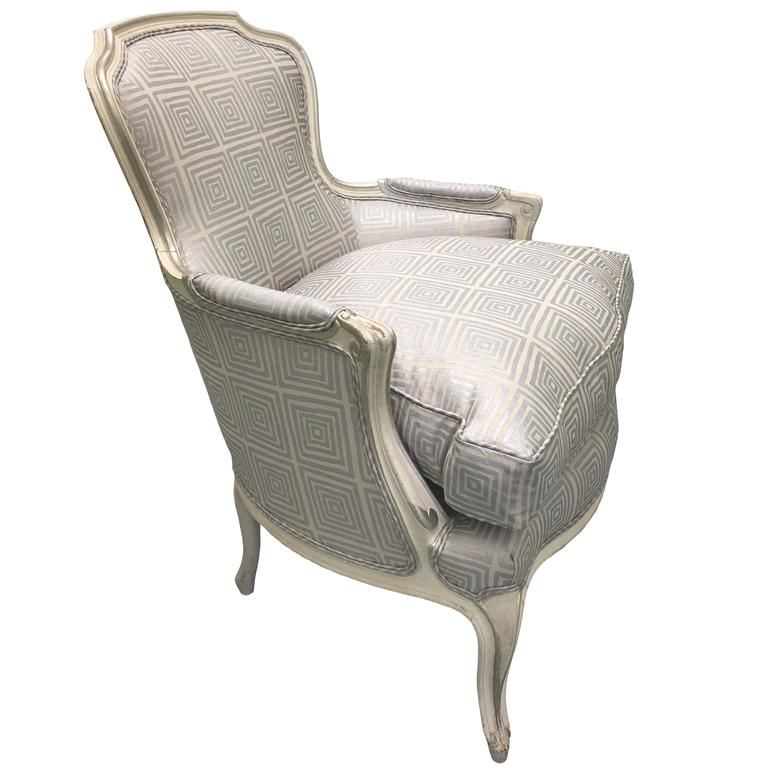 Newly Upholstered Louis XV Style Silver Painted Bergere Chair