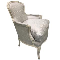 Louis XV Style Silver Painted Bergere Chair